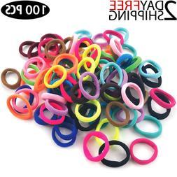 100 PCS Hair Ties Rubber Bands for Girls Thick Curly HAIR Se