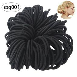 100PCS Hair Tie Rubber Band Thick Curly Hair Rings Elastics