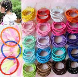 100Pcs Lot Kids Girl Elastic Rope Hair Ties Ponytail Holder
