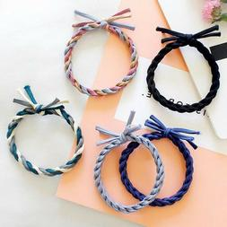 10pcs Mixed Color Braided Hair Ties Rope Elastic Rubber Band