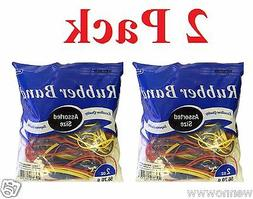 2 Oz./ 56.70 g Assorted Sizes and Colors Rubber Bands - 2 Pa