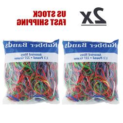 2 Pack - Assorted Rubber Bands 1/2 Pound 227 Grams Multi Col