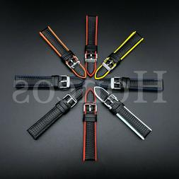 20 22 MM Black Silicone Carbon Fiber Rubber Watch Band Strap
