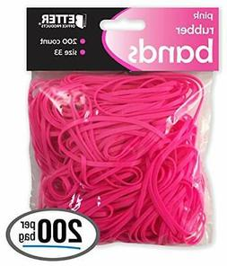 200 Pink Rubber Bands, by Better Office Products, Size 33, 2