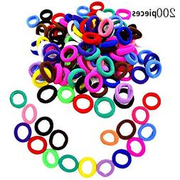 200pcs Colorful Elastic Rubber Bands Ponytail Holders Tiny S