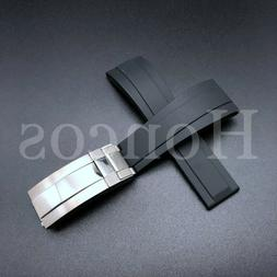 20mm BLACK Soft Rubber Strap Band for Rolex Watches 116610 1