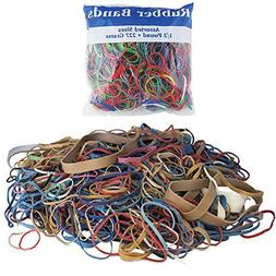 24 Packs Bazic Rubber Bands Assorted 1/2 Half Pound 227g Mul