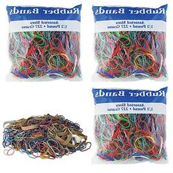 3 Pk Bazic Rubber Bands Assorted 1/2 Half Pound 227g Multi C