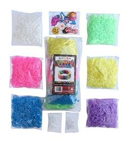 3000 Glow in the Dark Rainbow Colored Loom Bands Refill Kit