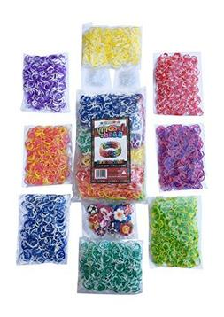 3200 Tie Dye Rainbow Colored Loom Band Refill Kit - 8 Brilli