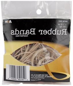 A & W Office Supplies 35021 Rubber Bands 1.5oz-Tan - Assorte