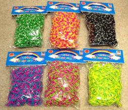 3600  TIE DYE Rainbow Color loom refill rubber bands With S
