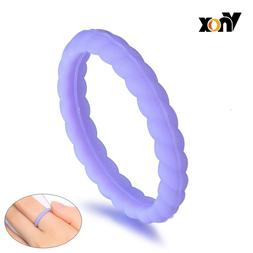Vnox 3MM Twisted Wedding Rings for Women Purple Silicone <fo