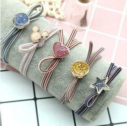 5pcs Girl hair band knotted hair rope bow headdress starry c