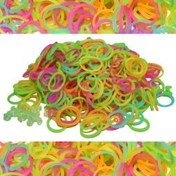 600 Piece Glow in the Dark Rubber Band and S-Clips Loom Art