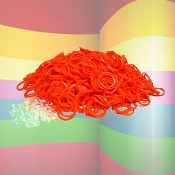 600 LOOM REFILL RUBBER BANDS & S-CLIPS - PACK OF ALL ORANGE