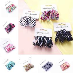 6Pcs Girls Rubber Bands Cotton Print Hair Ties Ponytail Rope