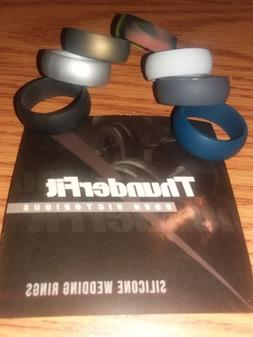 ThunderFit 7 Pack Silicone Rings & Singles Wedding Bands Men