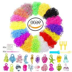 NEFUTRY 9600 Rainbow Color Rubber Loom Bands Mega Refill Pac