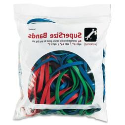 "Alliance : SuperSize Rubber Bands, Red/Blue/Green, 1/4"" wide"