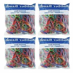 BAZIC Assorted Dimensions 227g 0.5 lbs. Rubber Bands Multi C