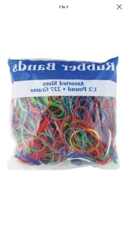 Bazic Rubber Bands 465 Ct. Assorted Colors/Sizes, 1/2 Pound
