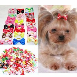 Dog Hair Bows with Rubber Bands - 2 piece PACK - USA Seller