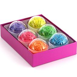 Office+Style 6 Colored Rubber Band Balls with Close-Lid Stor