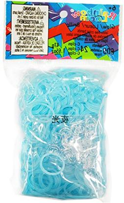 Rainbow Loom Glow Blue Rubber Bands with 24 C-Clips