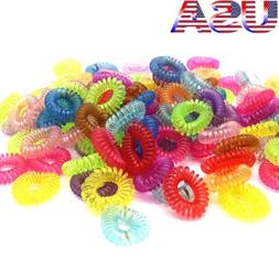 USA 30Pcs Rubber Telephone Wire Hair Ties Coil Slinky Hair H