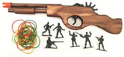 Wooden Rubber Band Gun Black Bear Destroyer Shotgun with Ext