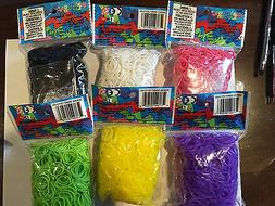 Authentic Rainbow Loom Rubber Bands - 600 Bands & 24 C-Clips
