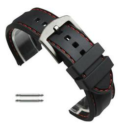 Black Rubber Silicone PU Replacement Watch Band Strap Steel