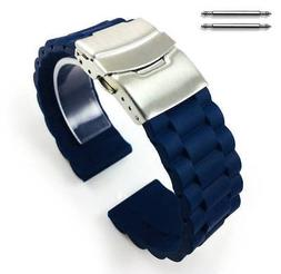 Blue Rubber Silicone Replacement Watch Band Strap Double Loc