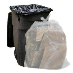 Clear 65 Gallon Trash Bags, 50 Bags Per Case