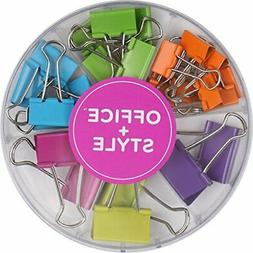 colored binder clips assorted size 26 pieces