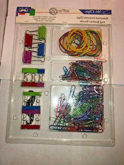 Colored Paper Binder Clips Set - Rubber Bands School & Offic