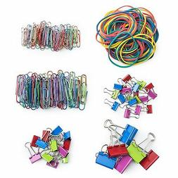 colored paper binder clips set rubber bands