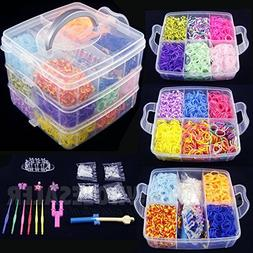 4800 PCS Colorful Rainbow Rubber Loom Bands Bracelet Making