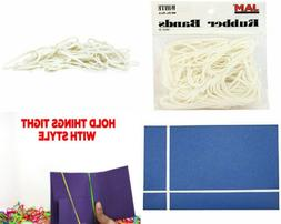JAM PAPER Colorful Rubber Bands - Size 33 - White Rubberband
