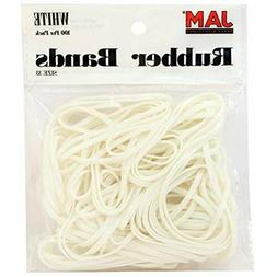 JAM PAPER Colorful Rubber Bands - Size 33 - White 3 1/2 x 1/