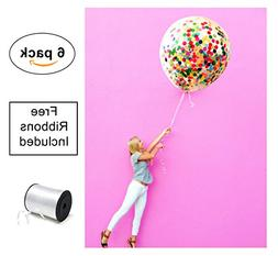 """Confetti Balloons 36"""" giant reusable clear six pack set  F"""