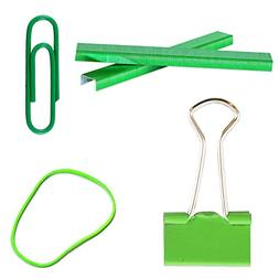 JAM Paper Desk Supply Asssortment Set - Green -  Rubber Band