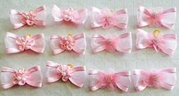 Pack of 30 Dog Hair Bows - Pink Butterfly Bows with cute flo