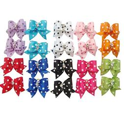 PET SHOW Dot Rhinestone Pet Dog Hair Bows W/Rubber Bands Cat