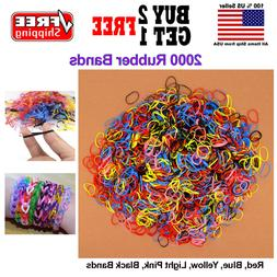 Girls Kids Colorful 2000 Hair Rubber Bands Elastic Tie Ponyt