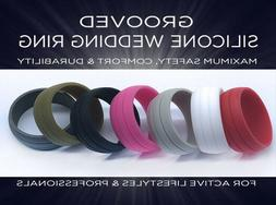 Grooved Silicone Rubber Wedding Engagement Ring Band Outdoor