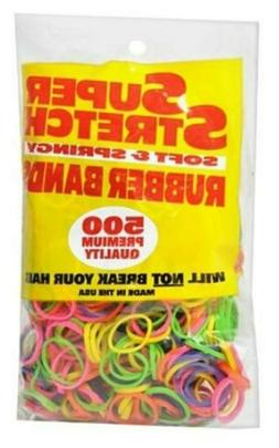 Hair Beauty Rubber Bands Super Stretch 500 Each pink yellow