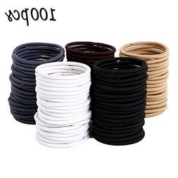 Whaline 100 Pieces 4mm Hair Tie Ponytail Holders Rubber Hair
