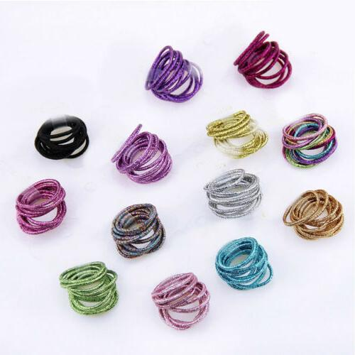 10/50pcs Color Ponytail Holder Hair Elastic